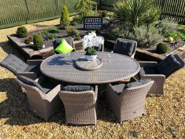 rattan garden furniture premium oval dining set