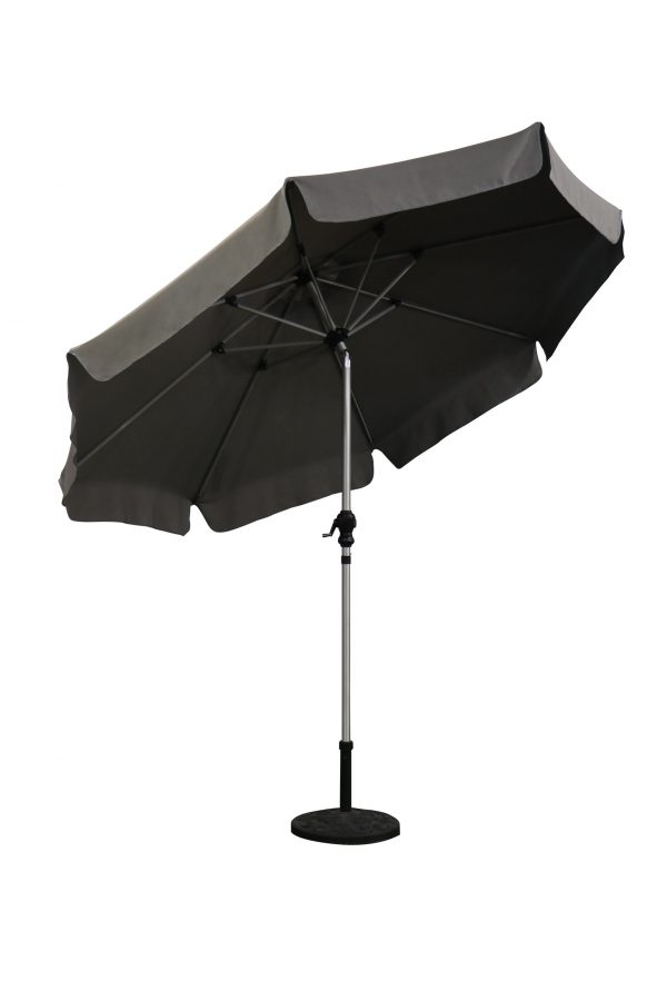 3m brushed aluminium parasol grey