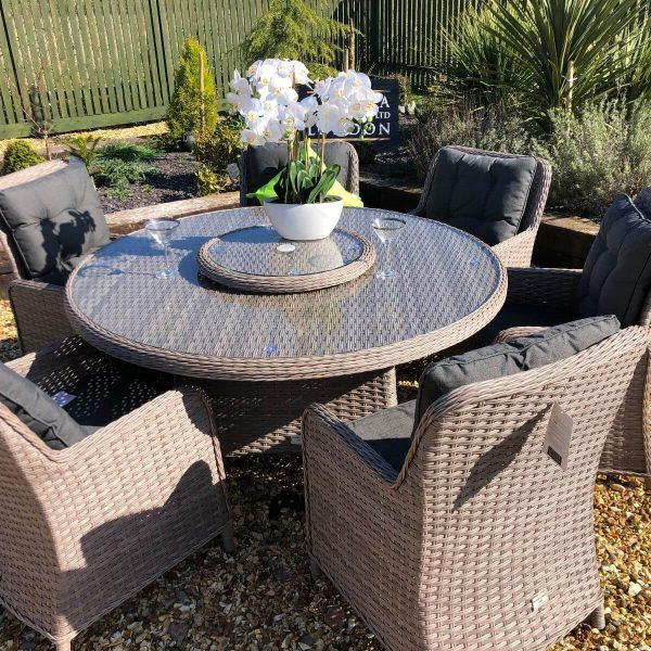 Premium Edition Round Rattan Dining Set With Reclining Chairs