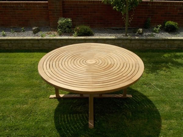 Teak Swirl Table 180cm with Lazy Susan Built In Centre