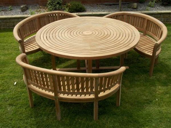 Teak Garden Furniture Round Table 180cm with 3 Bowood Benches