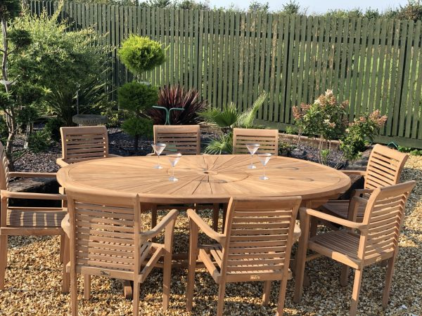teak Garden Furniture premium oval table with 8 teak stacking chairs