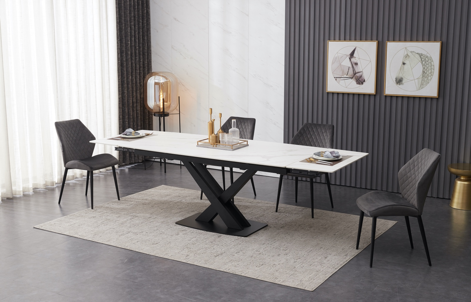 Ceramic Extending White Dining Table With 6 Grey Velvet Chairs Chelsea Home And Leisure Ltd