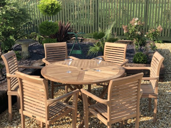 teak garden furniture folding table with 6 stacking chairs