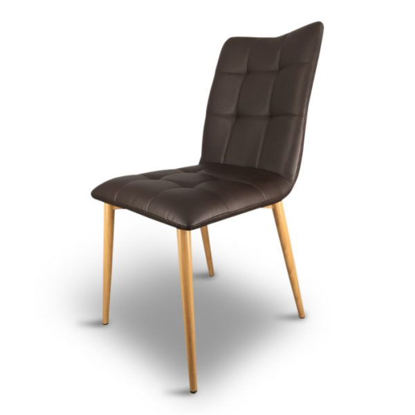 dining chair brown faux leather