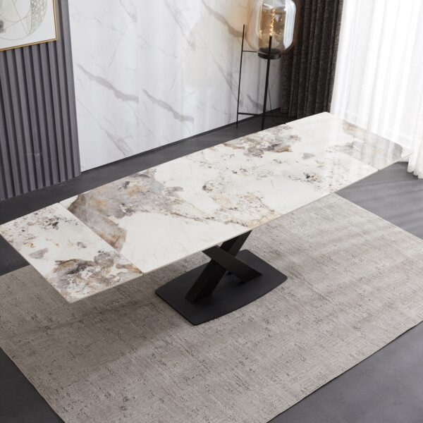 Ceramic Extending Table – White & Copper Marble Style
