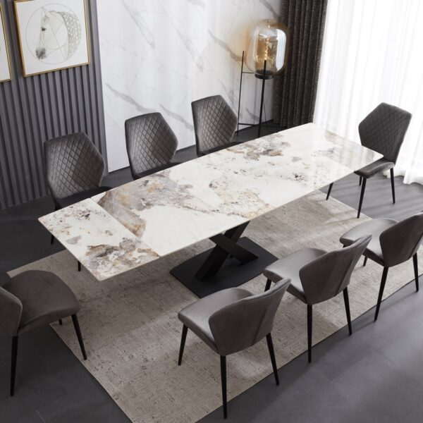 Ceramic Extending Table – White & Copper Marble Style with 8 Velvet Chairs